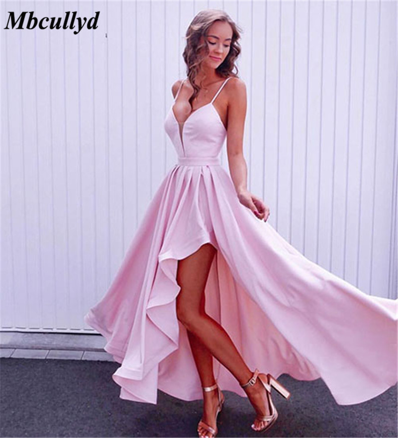Pink Satin Short   Bridesmaid     Dresses   For Women 2019 Ruffles Spaghetti Straps Cheap Party   Dress   Gown Plus Size Vestidos de fiesta