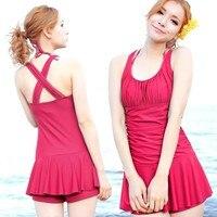 Swimwear Dress One Piece Slim Solid Color Personalized Hot Spring Female Swimwear Free Shipping
