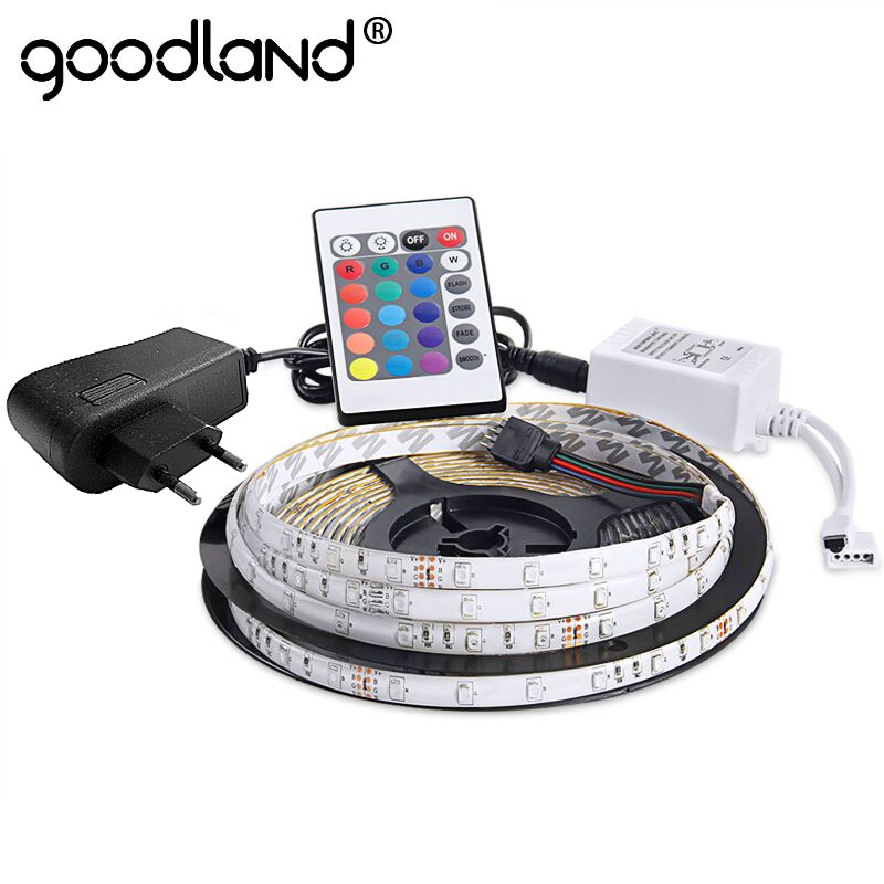 Goodland Waterproof LED RGB Strip Light SMD3528 IP65 Fiexble Light 60LED/M 5M DC 12V Adapter Power 2A RGB Strip LED Ribbon