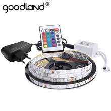 Goodland Waterproof LED RGB strip light SMD3528 IP65 Fiexble Light 60LED M 5M DC 12V Adapter