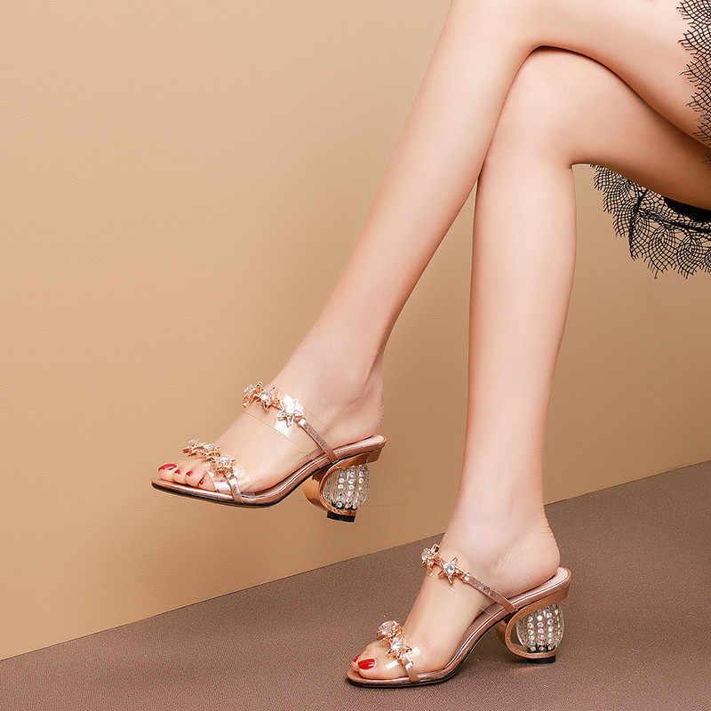 ASUMER كبير حجم 34-43 الصيف الصنادل المرأة عارضة حقيقية أحذية من الجلد النساء كريستال السيدات promshoes عالية الكعب النساء الصنادل