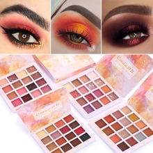 Cmaadu paleta de sombra de olho, maquiagem matte de metal à prova dágua, 16 cores brilhantes tslm2