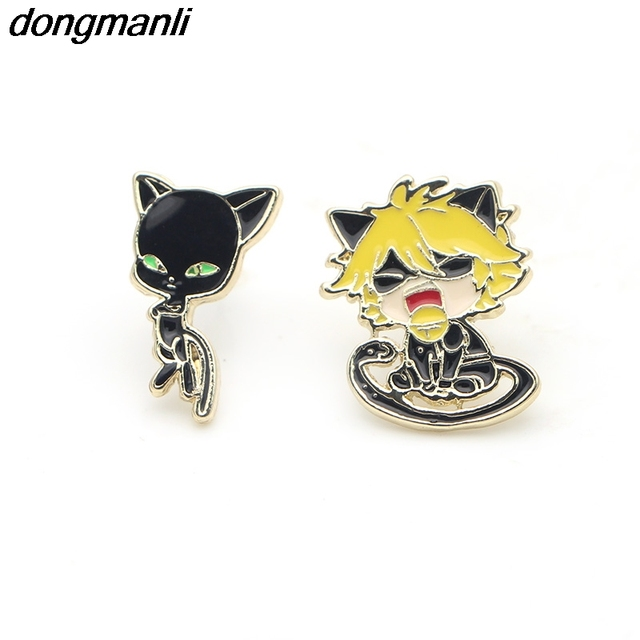Amazing P1235 Dongmanli Chat Noir Earrings For Women Miraculous: Tales Of Ladybug U0026  Cat Noir Cartoon