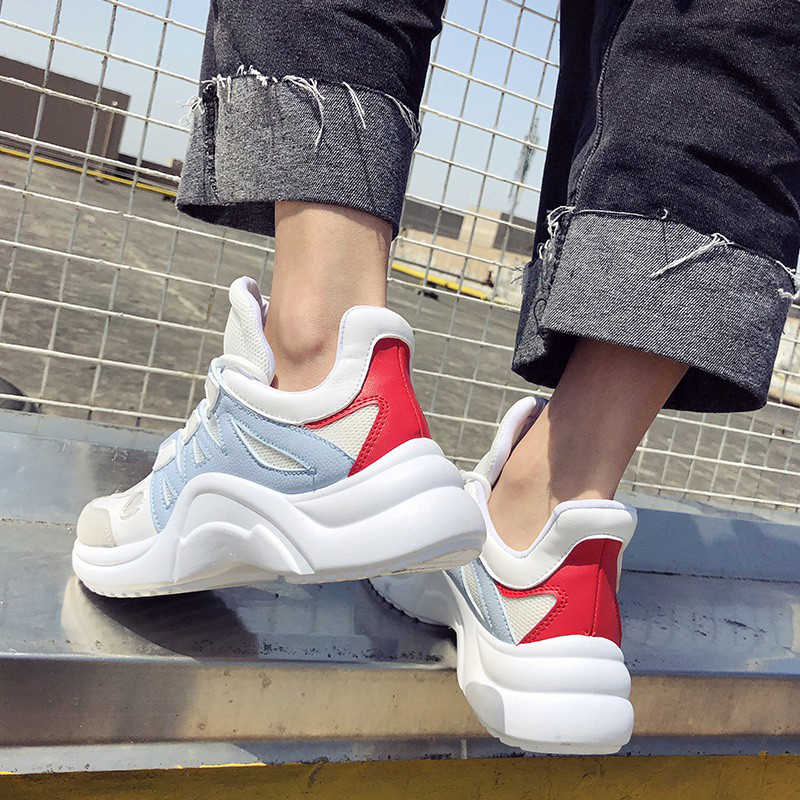 d20ccba4cfd Women Shoes White Chunky Sneakers 2019 Spring Women Vulcanized Shoes  Fashion Trainers Baskets Sneakers Women Chaussures Femme