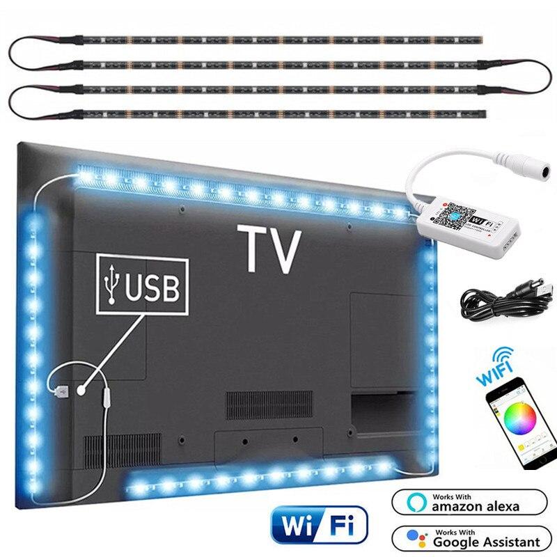Magic Home Wireless WiFi Smart USB LED Strip 5050 RGB Flexible Desktop LED Light 5V RGB Color Changeable TV Background Lighting
