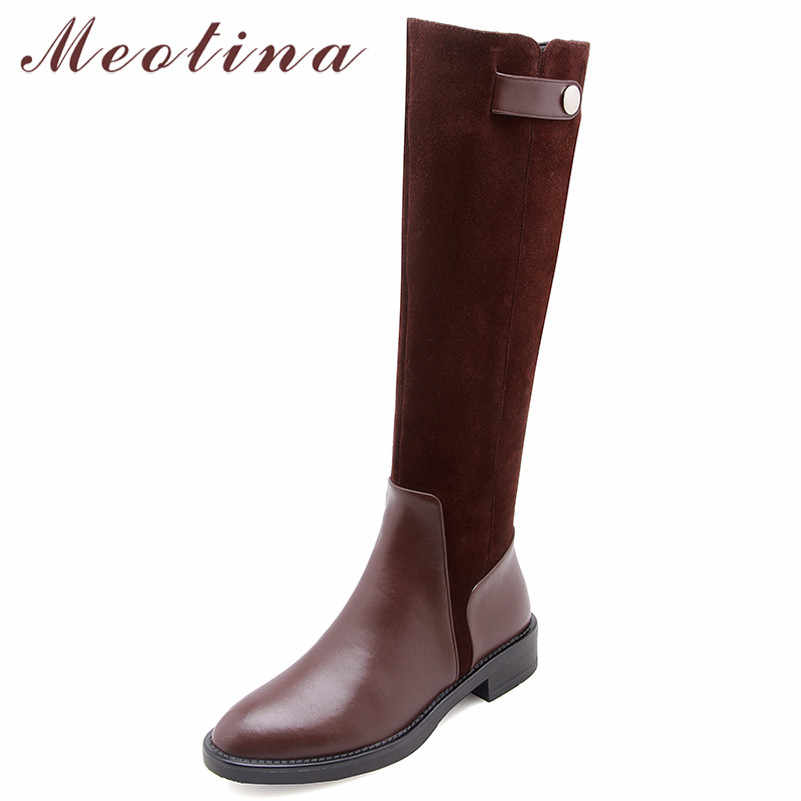 Meotina Thu Đi Giày Nữ đá Tự Nhiên Bằng Phẳng Đầu Gối Cao Cấp Giày Da Thật Khóa Kéo Dài Giày Nữ Size 34 -39