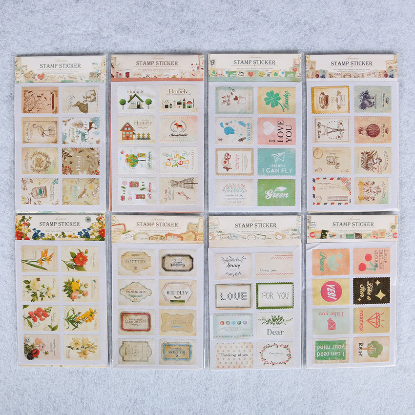 96PCS/6bags Cute Animal Flag Post Stamp Stickers Mini Sticky Note Paper Scrapbooking Pads Stamp Sticker Stationery Sticker new index paper sticker for notebook note cute sticky note post it memo pad for school