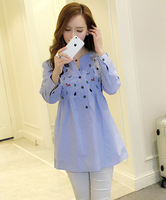 New Waist Pleated Embroidery Cotton Maternity Shirt Spring Autumn Blouse Tops Clothes For Pregnant Women Pregnancy