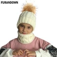 57bf64155dd Children kids Winter Hat Scarf set Raccoon Fur Ball Hat Pom pom Beanies  Baby Girls Warm Fleece Cap Scarf Set