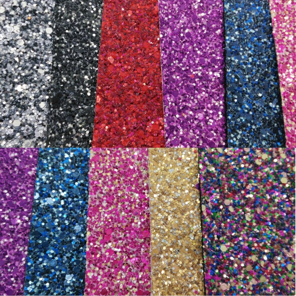 Colorful Chunky Glitter Leather Glitter Fabric With Cotton
