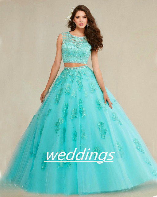7f4a97c526e 89088 Navy Blush Aqua Blue Quinceanera Ball Gown 2018 Lace Applique Tulle 2  Piece See Through