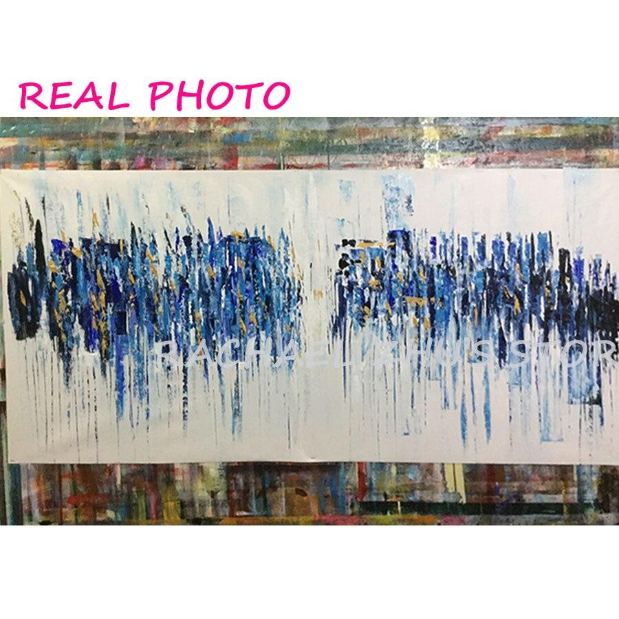 100% Əl Boyalı firuzəyi Yağlı Boyama Müasir Abstrakt Kətan - Ev dekoru - Fotoqrafiya 6