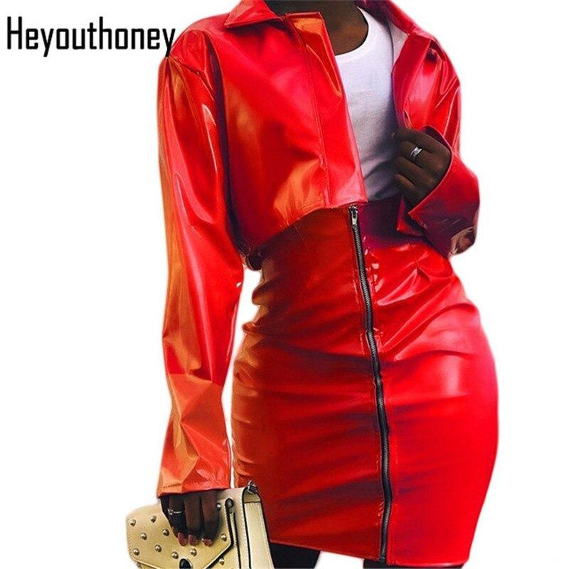 Heyouthoney femmes sexy fête rouge veste en cuir synthétique polyuréthane crop hauts et mini fermeture éclair moulante jupes deux pièces ensembles costumes