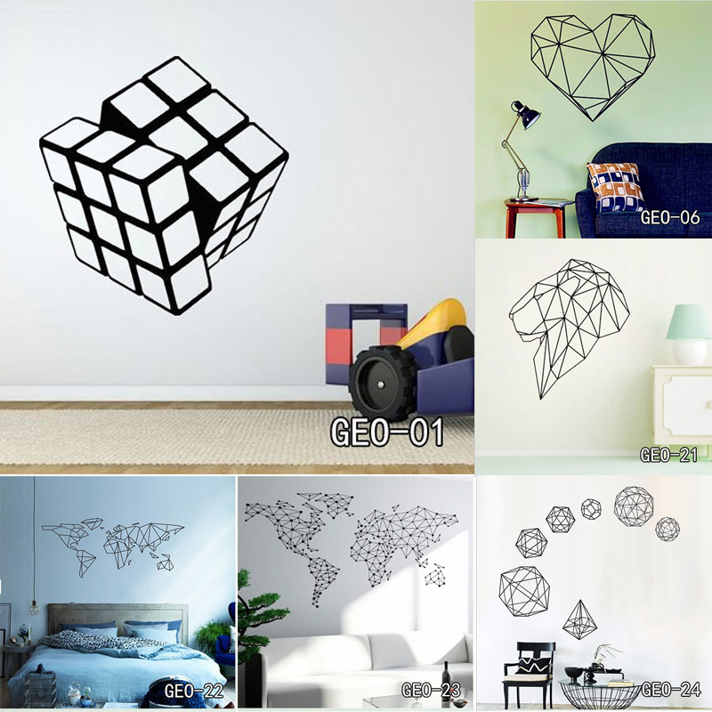 Diamond Shape Geometry Vinyl Decals Geometric Wall Sticker Home Modern Removable Decor for Living Room Free Shipping hot sale 1pc longhorn hilux 900mm graphic vinyl sticker for toyota hilux decals badges detailing sticker car styling accessories
