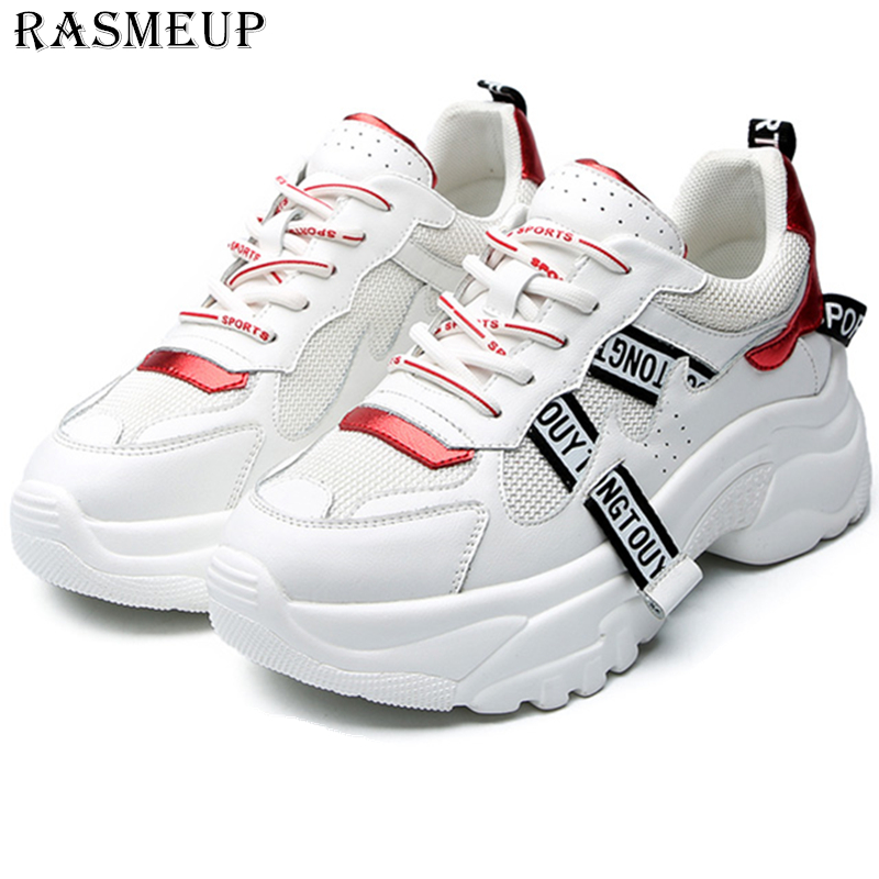 RASMEUP Leather Mesh Women's Chunky Sneakers Fashion White Women Platform Trainers 2019 Brand Comfortable Casual Woman Shoes-in Women's Flats from Shoes    1