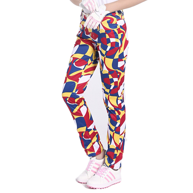 PGM Women Golf Pants High Elastic Printed Ladies Trousers for Golf Sports Breathable Quick-drying Female Golf/Tennis Sweatpants