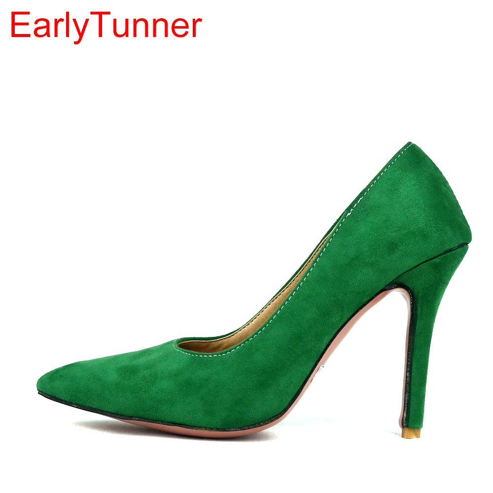 Brand New Elegant Green Red Women Nude Formal Pumps Black -3291