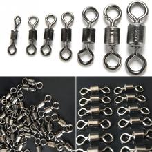 100pcs/lot Fishing Swivels Sea Accessories Multi Sizes Rolling Swivel Connector with Ball Bearing Solid Rings