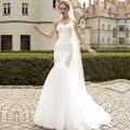 Alta Calidad Por Encargo Del Amor de La Sirena Vestido de Novia de Encaje up Suave patio Blanco vestidos de novia 2017 vestido noiva Velo Libre