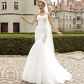 Alta Qualidade Custom Made Querida Sereia Vestido de Noiva Lace up Macio quintal Branco vestidos de casamento 2017 vestido de noiva Véu Grátis