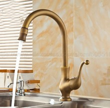 Single Handle Bathroom Hot/Cold Water Mixer Taps Basin Faucet Bathroom Kitchen Deck Mounted Antique Brass Basin Faucet zan056 стоимость