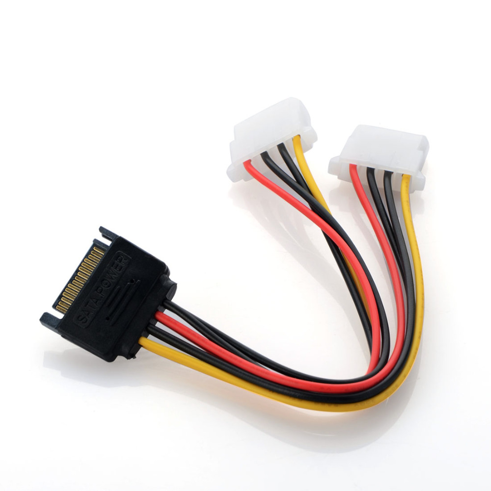 New 19CM Power Adapter Cable 15-Pin SATA Male To Dual Molex 4-Pin IDE HDD Female