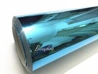 1,52*18 м Небесно голубой 3 слоя Высокая растяжимое Зеркало chrome воздуха бесплатная автомобиль обёрточная Бумага Винил