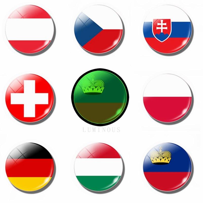 30MM Glass Luminous Fridge Magnet National Flag (Poland, Czech, Slovakia, Hungary, Germany, Austria, Switzerland, Liechtenstein)(China)