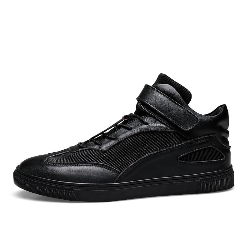 Occasionnels Design Deportivo Top Ramialali Véritable Sneakers Chaussures Calzado Mode Hommes Hombre Noir Cuir High De Confortable byY7f6g