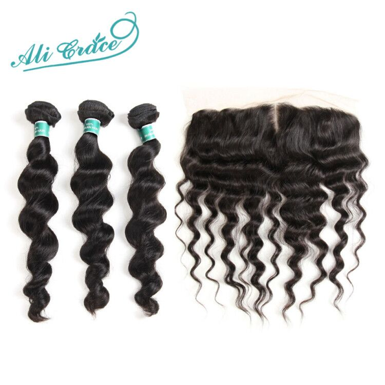 Ali Grace Hair Brazilian Loose Wave With Closure 3 Bundles With 13 4 Free Part Middle