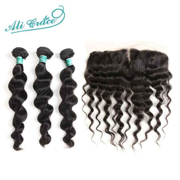 Ali Grace Hair Brazilian Loose Wave With Closure 3 Bundles With 13*4 Free Part Middle Part Ear to Ear Lace Frontal Remy Hair