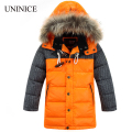2016 New Children's Winter Jackets Coats Boys Warm Thicken Hooded With Fur Downs Jacket For Teenage Christmas Clothes Outerwear