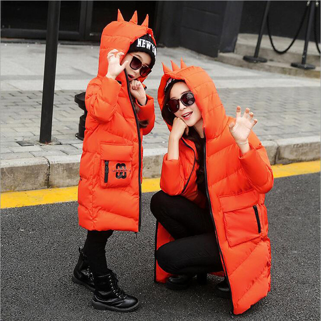 Kids Winter Clothes Children's Cotton Jacket Christmas Boys Down Coat Dinosaur Matching Mother Daughter Clothes Snowcovered Park