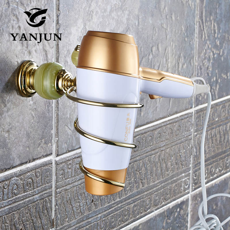 Yanjun European Style Brass Jade Stone Golden Wall Mounted Hairdryer Support Holder Spiral Stand Bathroom Wall Shelf YJ-8152 citilux потолочная люстра citilux кода cl216163
