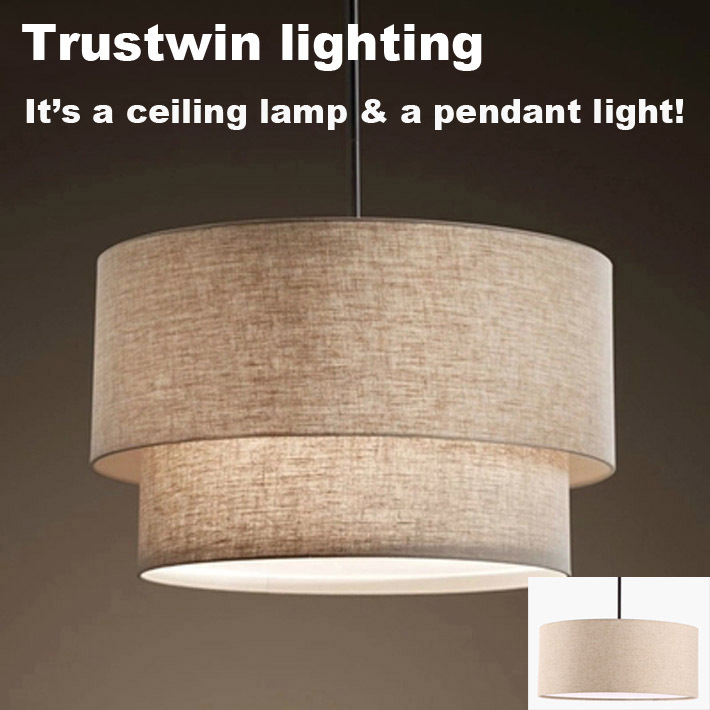 Light Fixture Brands: Trustwin Brand With Fabric Linen Shade Semi Flush Ceiling