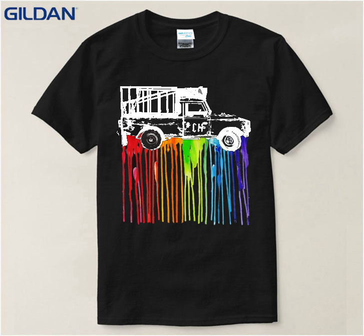 Gildan 2018 Best Hippie Van Dripping Rainbow Paint Neon Color Male Black men T-Shirt En Coton Hommes Pre-Cotton Tshirt Street