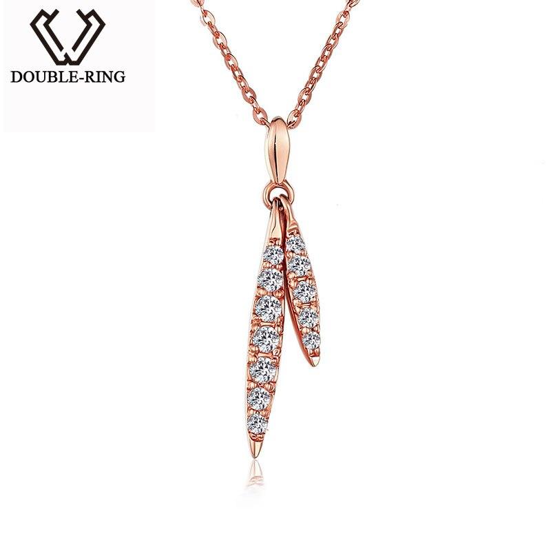 DOUBLE-R Véritable 18 k Or Collier pendentifs Femmes Romantique Laisser Diamant Bijoux De Mariage Dames Beaux Bijoux CANL00277KA-3