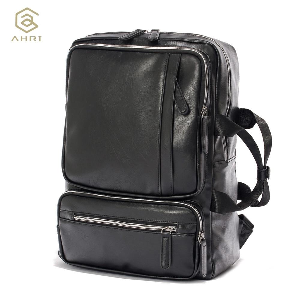 0aefb5c8384c AHRI NEW Men Backpacks for Bags PU Leather Men s Shoulder Bags Fashion Men  Business Casual Boy School Boys Vintage Men Backpack