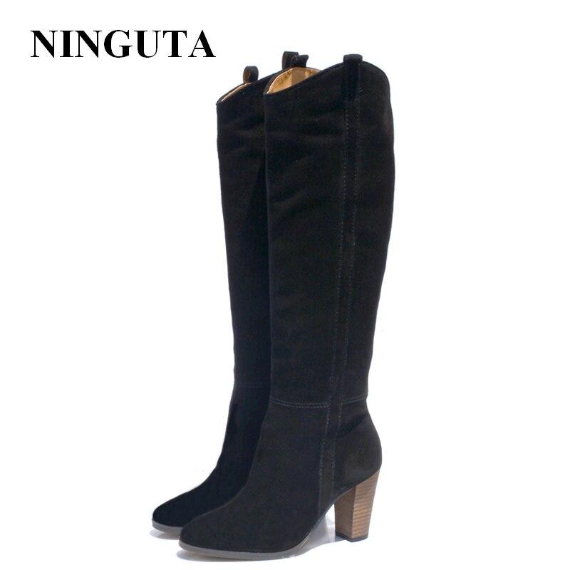 Cuir véritable daim bottes femmes talon haut pour automne genou haute bottes dames chaussures femme 36-42 - 3