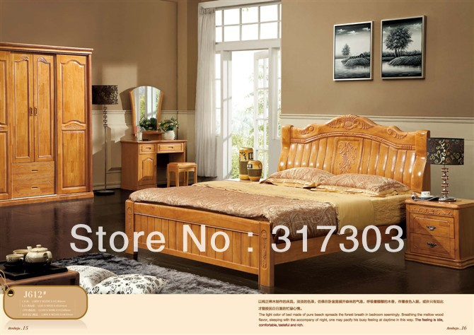 Factory Wholesale Solid Oak Wood Double Bed, Modern Design, Bedroom  Furniture Solid Wood Bed  Stand H612