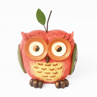 Red Owl Figurine with Apple Shape Kawaii Cute Miniature Owls Fairy Garden Bonsai Craft Landscape Decor Resin Garden Ornament