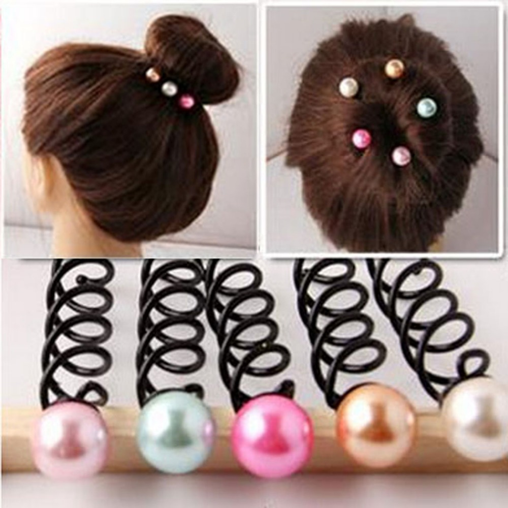 Furling Girl 1 PC Hair Accessories Small Pearl Spiral Hair Clip Barrette Pin Rotating Hairpin Hair Ties