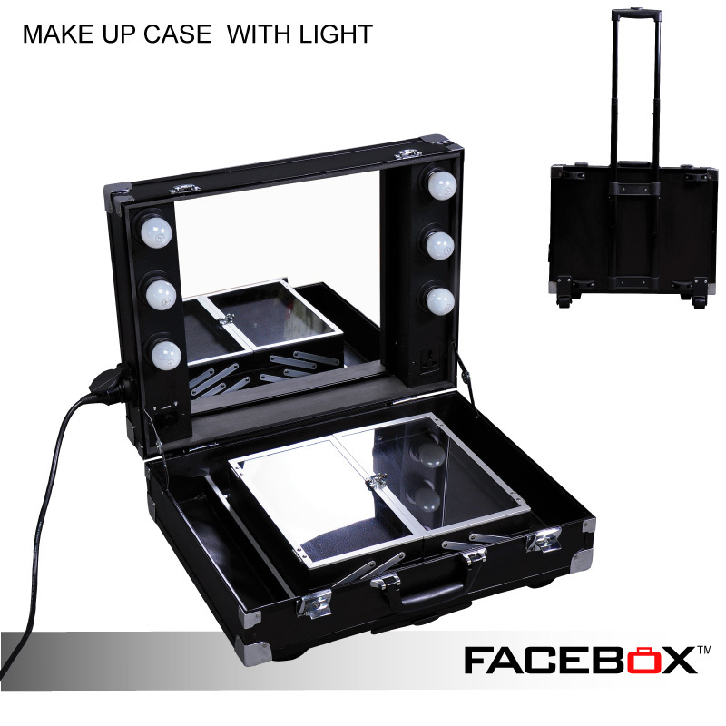 Facebox Professional Makeup Artist Lighting Makeup Case With Mirror Portable Beauty Box With ...