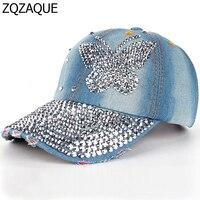 2017 High Quality Luxury 100% Manual Drill Women's Fashion Caps Diamond Butterfly Pattern Girls Summer Denim Baseball Caps SY551