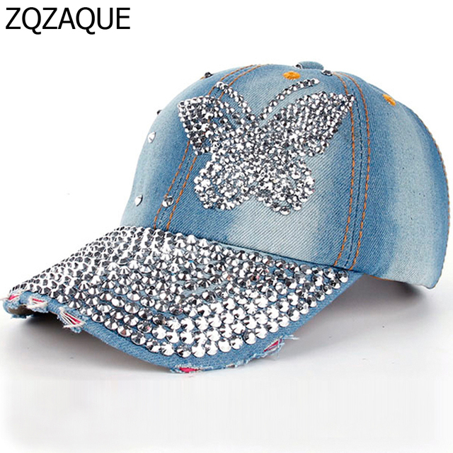 0ba65bf04c571a 2018 High Quality Luxury 100% Manual Drill Women's Fashion Caps Diamond  Butterfly Pattern Girls Summer Denim Baseball Caps SY551