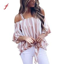 3375f5459e7 Feitong 2018 Women s Cold Shoulder Striped Spaghetti Strap Shirt Tie Knot  Casual Blouse Tops Blusas feminina