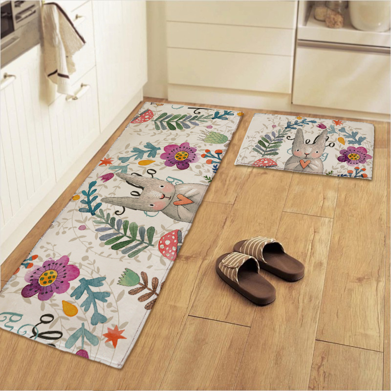 Moderne Einrichtungsideen Tomo Ziffer | 50x80 50x120cm Set Painted Rabbit Kitchen Mat Anti Slip Bathroom