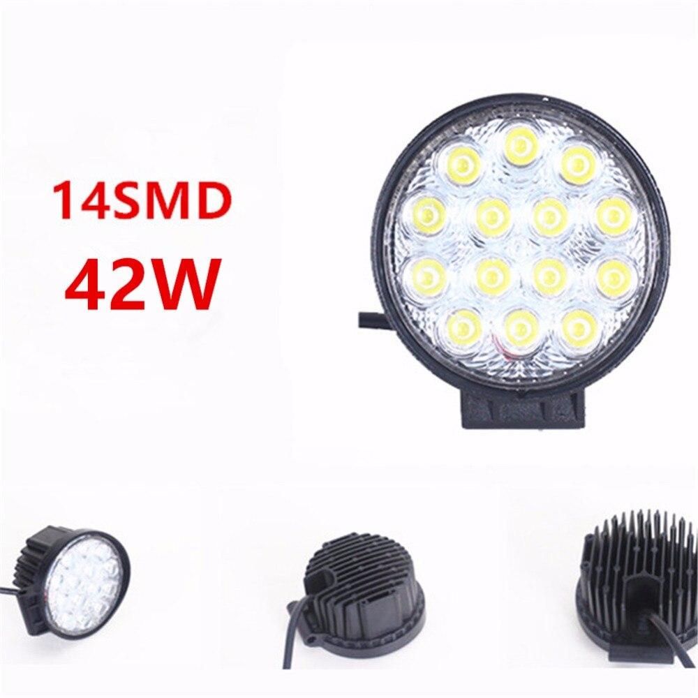 Waterproof 42W Car LED Light  Offroad Spot Light Round LED Work Light LED Spot Lamp for Car Truck Vehicle ATV Boat 10-30V
