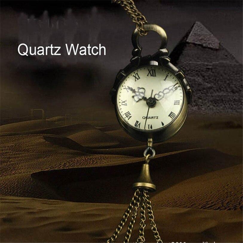 Superior Vintage Bronze Quartz Ball Glass Pocket Watch Necklace Chain Steampunk August 1