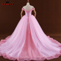 High Quality Pink Ball Gown Fluffy Flowers Wedding Dresses Mariage Wedding Gowns 2018 New Vestido De